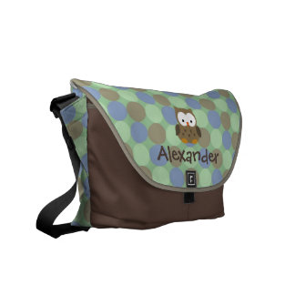 Baby Owl Blue and Brown Custom Name Diaper Tote Courier Bag