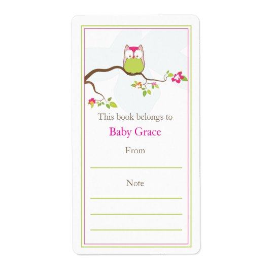Baby Owl  Bookplate Shipping Label