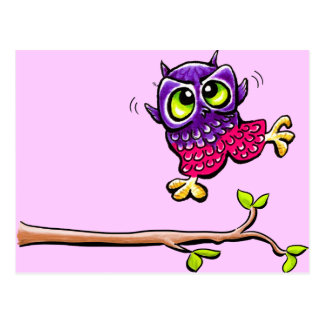 Baby Owl First Flight Pink Postcard