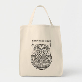 Baby Owl in the Egg ZenDoodle Art Personalizable Tote Bag