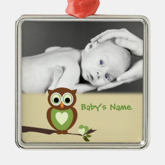 Baby Owl/Photo Silver-Colored Square Decoration