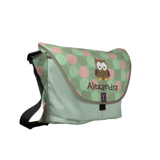 Baby Owl Pink and Green Custom Name Diaper Tote Courier Bags