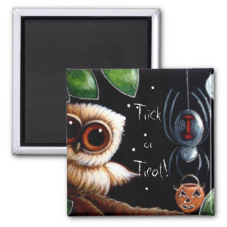 BABY OWL & SPIDER TRICK OR TREAT Magnet