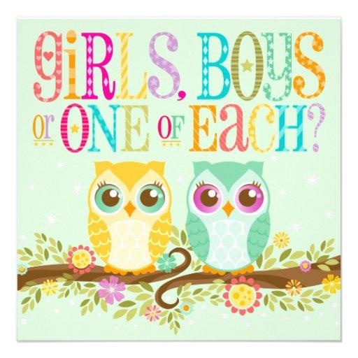 Baby Owl Twins - Gender Unknown Baby Shower Custom Invitation
