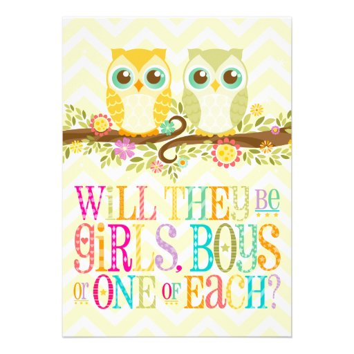 Baby Owl Twins - Gender Unknown Baby Shower Personalized Invitations