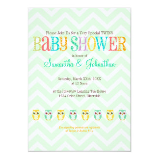 Baby Owl Twins - Gender Unknown Baby Shower Personalized Invites