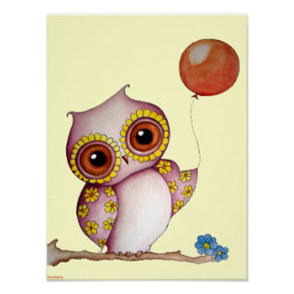 Baby Owl with Balloon Poster for Children
