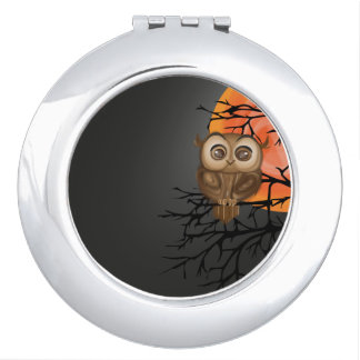 Baby owl with big eyes on moon night background vanity mirrors