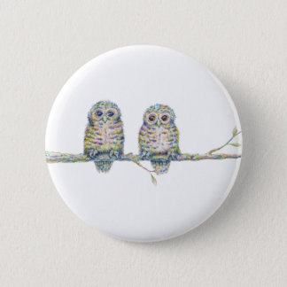 Baby Owls - 'Connection' 6 Cm Round Badge