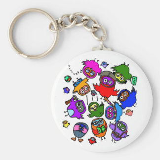 Baby Owls Learning to Fly Basic Round Button Key Ring