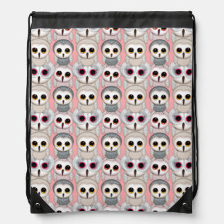 Baby Owls On Pale Pink Background Pattern Drawstring Backpack