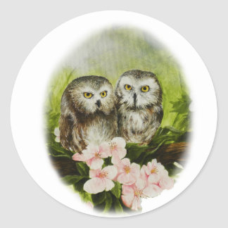 Baby Owls painting on customisable products Round Sticker