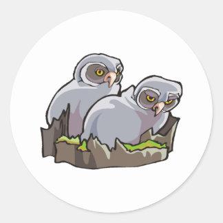 Baby Owls Round Sticker