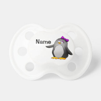 Baby Pacifier, Cute Penguin Cartoon, Your Name Dummy
