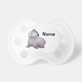 Baby Pacifier, Cute Walrus Cartoon with Name Pacifier