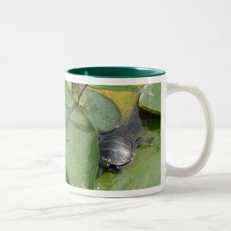 Baby Painted Turtle on Lilypad Items Two-Tone Coffee Mug
