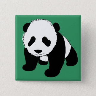 Baby Panda 15 Cm Square Badge