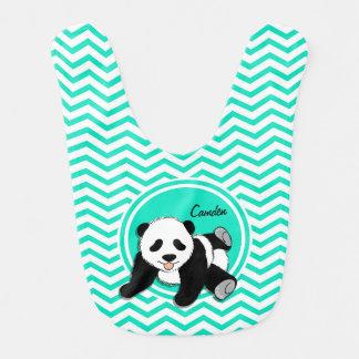 Baby Panda; Aqua Green Chevron Bib