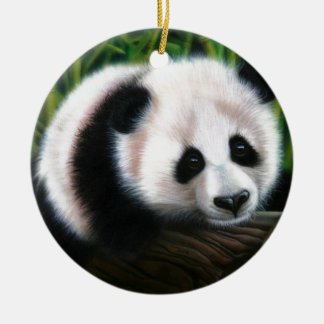 Baby panda balancing on a log christmas ornament