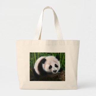 Baby panda balancing on a log large tote bag