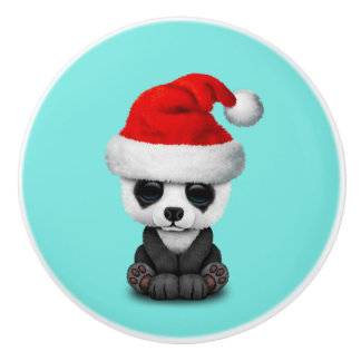 Baby Panda Bear Wearing a Santa Hat Ceramic Knob