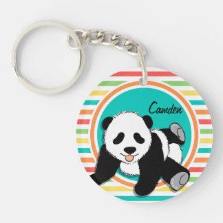 Baby Panda; Bright Rainbow Stripes Key Chains