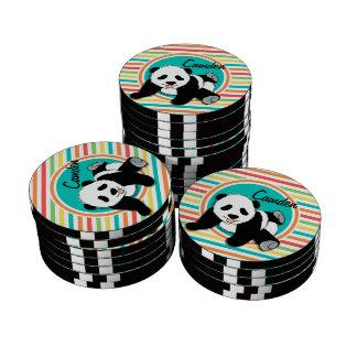 Baby Panda; Bright Rainbow Stripes Poker Chip Set