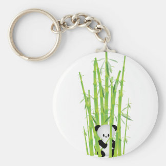 Baby Panda in Bamboo Forest Basic Round Button Key Ring
