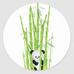 Baby Panda in Bamboo Forest Round Sticker