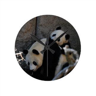 Baby Panda Peeking Wallclock