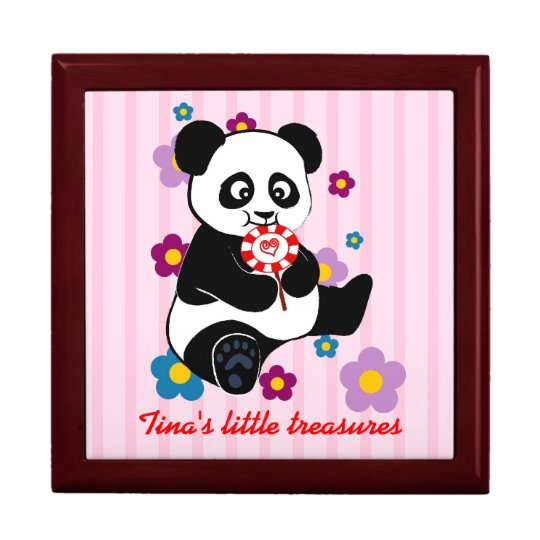 Baby Panda with lollipop Large Square Gift Box