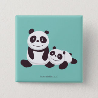 Baby Pandas 15 Cm Square Badge