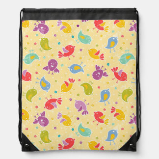 Baby pattern with cute birds drawstring backpacks