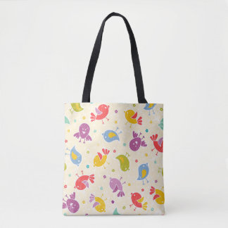 Baby pattern with cute birds tote bag