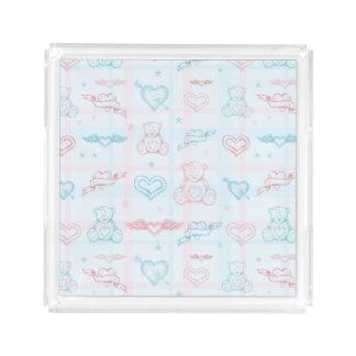 baby pattern with teddy bear acrylic tray