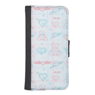 baby pattern with teddy bear iPhone SE/5/5s wallet case