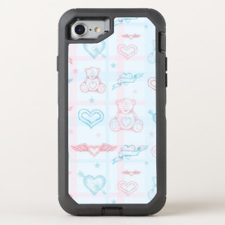 baby pattern with teddy bear OtterBox defender iPhone 8/7 case