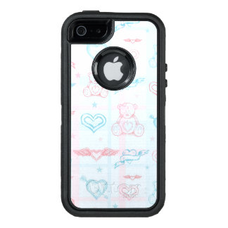 baby pattern with teddy bear OtterBox defender iPhone case