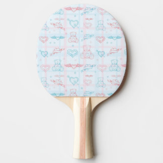 baby pattern with teddy bear ping pong paddle