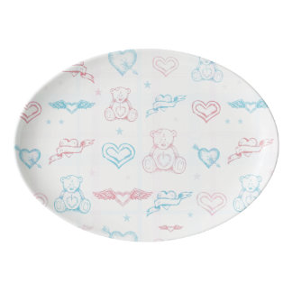 baby pattern with teddy bear porcelain serving platter