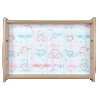 baby pattern with teddy bear serving tray