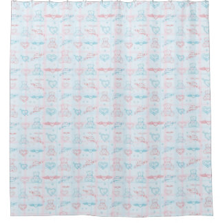 baby pattern with teddy bear shower curtain