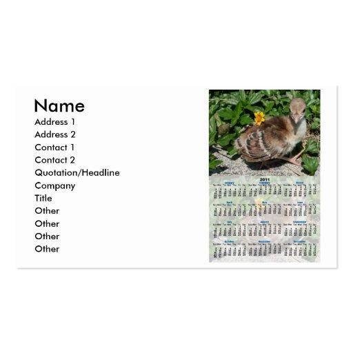 Baby Peacock 2011 Whole Year Calendar Business Card Templates