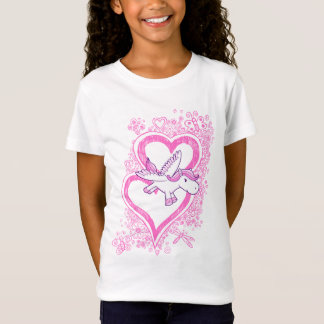 Baby Pegasus with Sketch Doodle Hearts  T-Shirt
