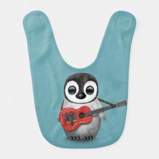Baby Penguin Playing Albanian Flag Guitar Blue Bibs