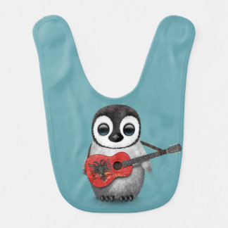 Baby Penguin Playing Albanian Flag Guitar Blue Baby Bibs