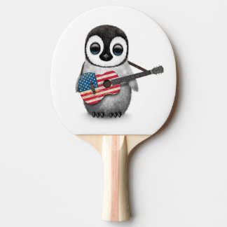 Baby Penguin Playing American Flag Guitar
