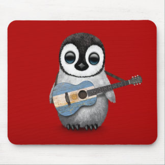 Baby Penguin Playing Argentinian Flag Guitar Red Mouse Mat