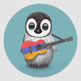 Baby Penguin Playing Armenian Flag Guitar Blue Round Stickers
