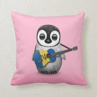 Baby Penguin Playing Barbados Flag Guitar Pink Cushion